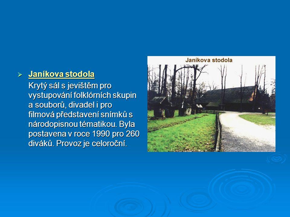  Janíkova stodola Krytý sál s jevištěm pro vystupování folklórních skupin a souborů, divadel i pro filmová představení snímků s národopisnou tématiko