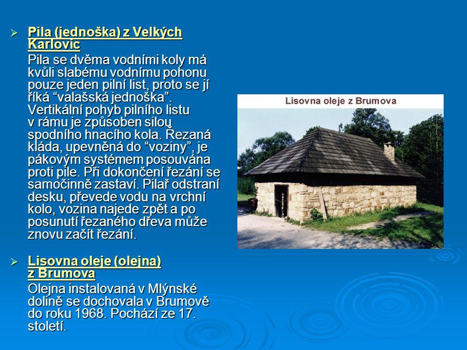 """ Pila (jednoška) z Velkých Karlovic Pila se dvěma vodními koly má kvůli slabému vodnímu pohonu pouze jeden pilní list, proto se jí říká """"valašská jed"""