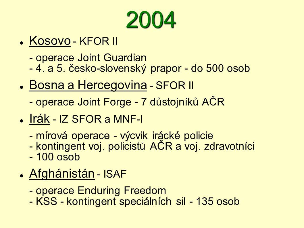 2004  Kosovo - KFOR II - operace Joint Guardian - 4. a 5. česko ‑ slovenský prapor - do 500 osob  Bosna a Hercegovina - SFOR II - operace Joint Forg