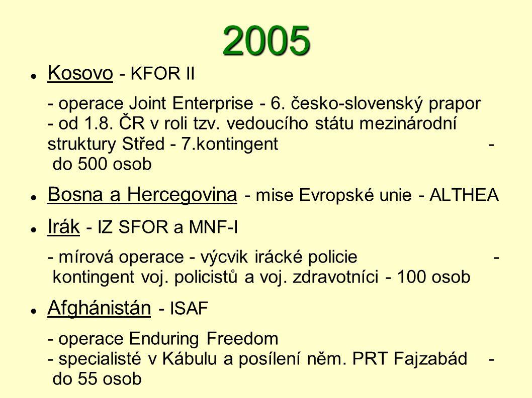 2005  Kosovo - KFOR II - operace Joint Enterprise - 6. česko ‑ slovenský prapor - od 1.8. ČR v roli tzv. vedoucího státu mezinárodní struktury Střed