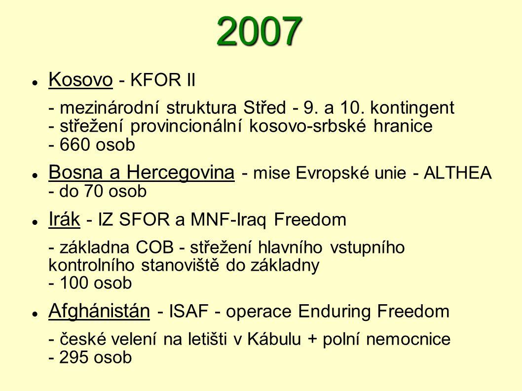 2007  Kosovo - KFOR II - mezinárodní struktura Střed - 9. a 10. kontingent - střežení provincionální kosovo-srbské hranice - 660 osob  Bosna a Herce