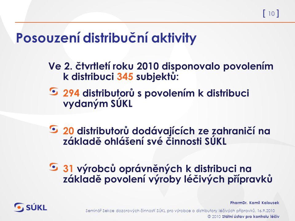 [ 10 ] PharmDr. Kamil Kalousek Seminář Sekce dozorových činností SÚKL pro výrobce a distributory léčivých přípravků, 16.9.2010 © 2010 Státní ústav pro