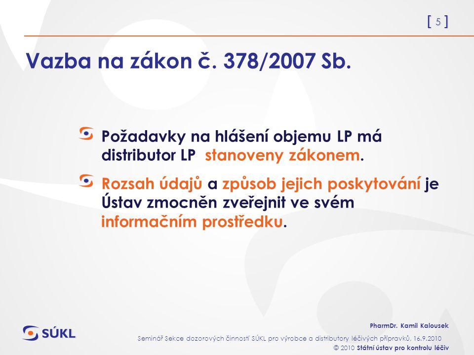 [ 5 ] PharmDr. Kamil Kalousek Seminář Sekce dozorových činností SÚKL pro výrobce a distributory léčivých přípravků, 16.9.2010 © 2010 Státní ústav pro