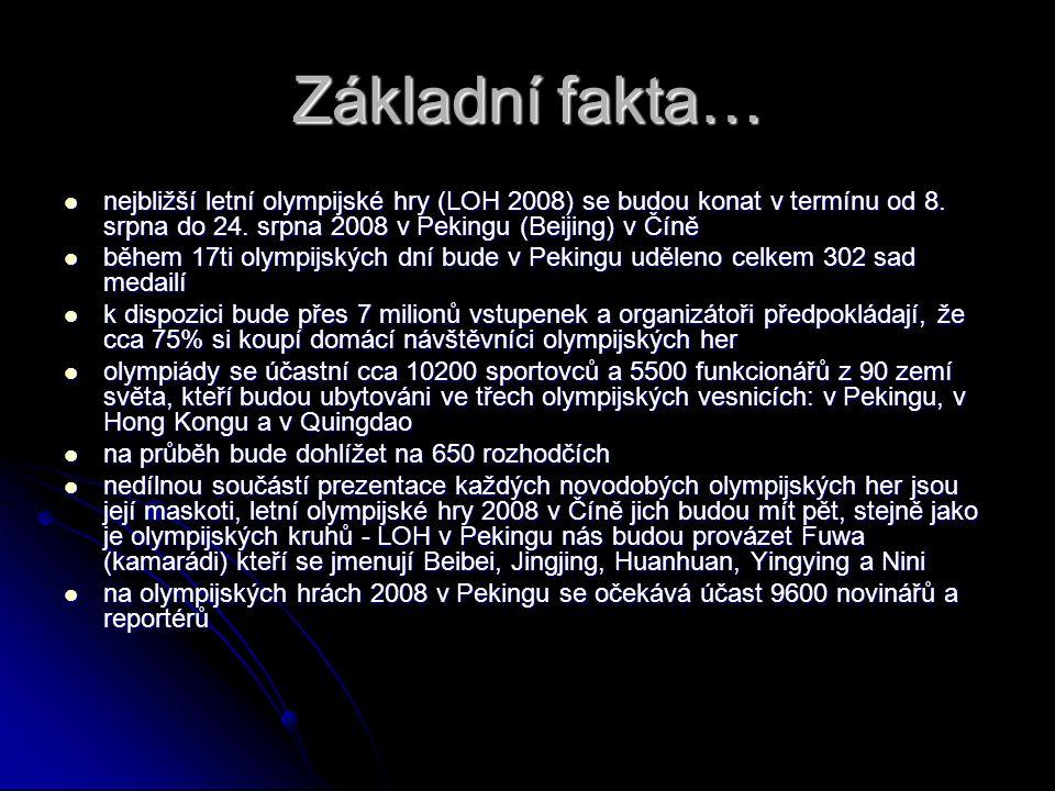 Zdroje:  http://www.letni-olympijske-hry-peking- 2008.cz/ http://www.letni-olympijske-hry-peking- 2008.cz/ http://www.letni-olympijske-hry-peking- 2008.cz/  http://olympiada.sportakce.cz/loh/vstupenk y.html http://olympiada.sportakce.cz/loh/vstupenk y.html http://olympiada.sportakce.cz/loh/vstupenk y.html  http://www.samuraj.cz/clanek/1131--letni- olympijske-hry-v-cine.html http://www.samuraj.cz/clanek/1131--letni- olympijske-hry-v-cine.html http://www.samuraj.cz/clanek/1131--letni- olympijske-hry-v-cine.html  http://czechbadminton.cz/html/news/pekin g/novodobe-olympijske-hry.htm http://czechbadminton.cz/html/news/pekin g/novodobe-olympijske-hry.htm http://czechbadminton.cz/html/news/pekin g/novodobe-olympijske-hry.htm  http://www.olympic.cz/?sec=138 http://www.olympic.cz/?sec=138