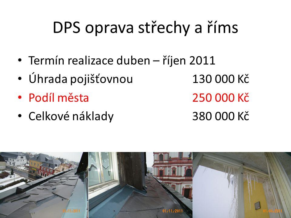 DPS oprava střechy a říms • Termín realizace duben – říjen 2011 • Úhrada pojišťovnou 130 000 Kč • Podíl města 250 000 Kč • Celkové náklady 380 000 Kč