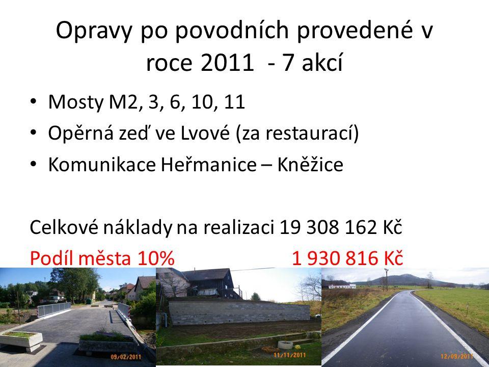 Opravy po povodních provedené v roce 2011 - 7 akcí • Mosty M2, 3, 6, 10, 11 • Opěrná zeď ve Lvové (za restaurací) • Komunikace Heřmanice – Kněžice Celkové náklady na realizaci 19 308 162 Kč Podíl města 10% 1 930 816 Kč
