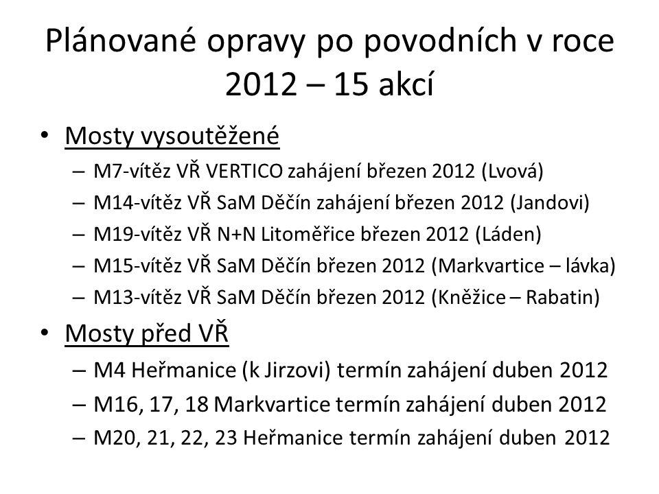 Plánované opravy po povodních v roce 2012 – 15 akcí • Mosty vysoutěžené – M7-vítěz VŘ VERTICO zahájení březen 2012 (Lvová) – M14-vítěz VŘ SaM Děčín zahájení březen 2012 (Jandovi) – M19-vítěz VŘ N+N Litoměřice březen 2012 (Láden) – M15-vítěz VŘ SaM Děčín březen 2012 (Markvartice – lávka) – M13-vítěz VŘ SaM Děčín březen 2012 (Kněžice – Rabatin) • Mosty před VŘ – M4 Heřmanice (k Jirzovi) termín zahájení duben 2012 – M16, 17, 18 Markvartice termín zahájení duben 2012 – M20, 21, 22, 23 Heřmanice termín zahájení duben 2012