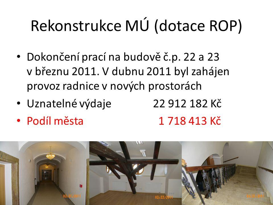 Rekonstrukce MÚ (dotace ROP) • Dokončení prací na budově č.p.
