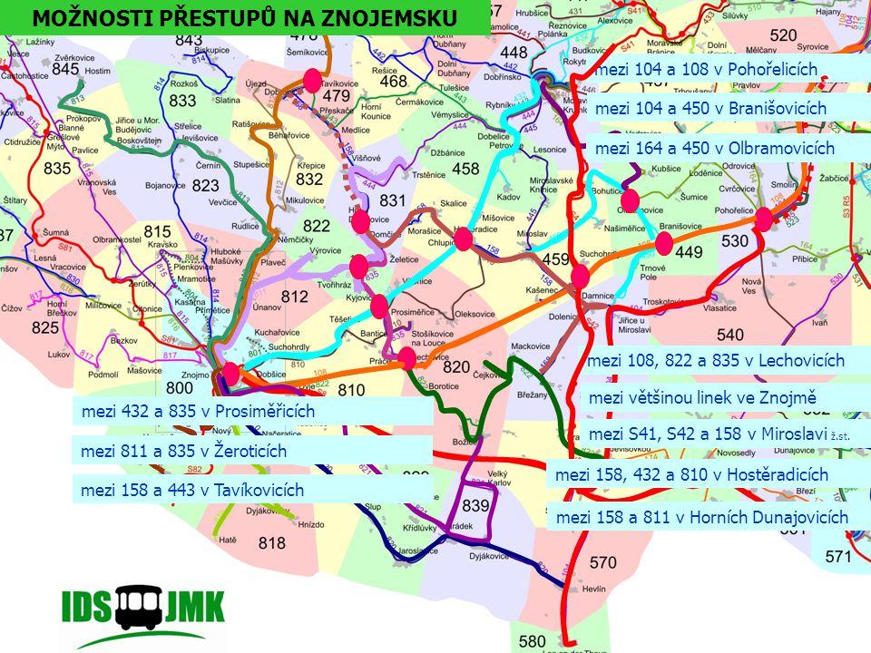mezi 104 a 108 v Pohořelicích mezi 104 a 450 v Branišovicích mezi 164 a 450 v Olbramovicích mezi 108, 822 a 835 v Lechovicích mezi většinou linek ve Znojmě mezi S41, S42 a 158 v Miroslavi ž.st.