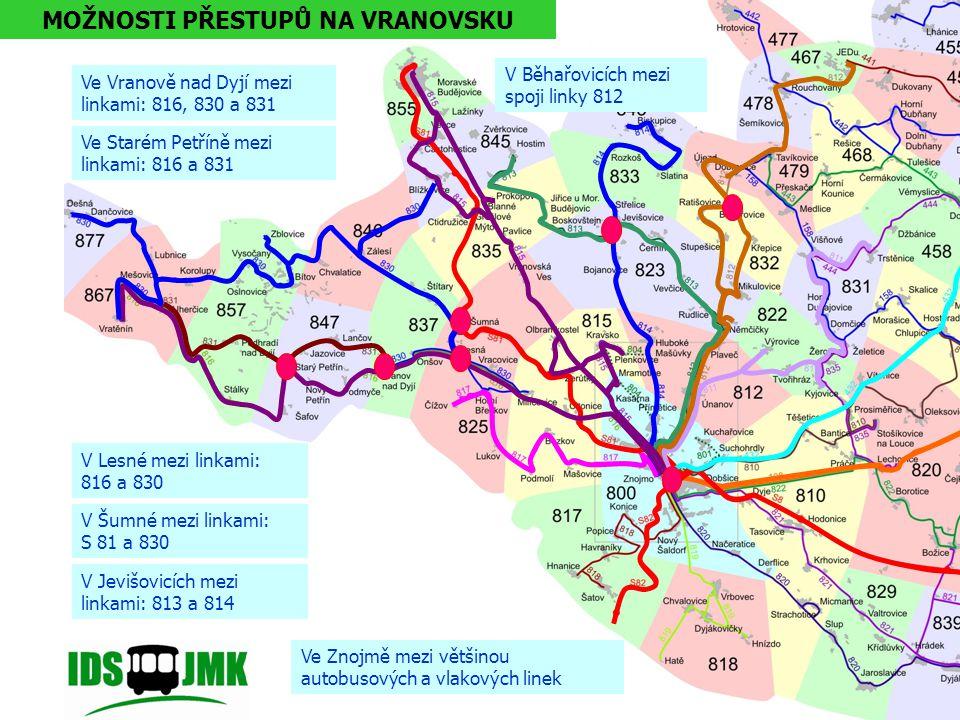 mezi linkami 820 a 821 v Dyjákovicích mezi linkami 820 a 104 v Hevlíně mezi linkami S8, 104 a 822 v Hrušovanech n. Jev. MOŽNOSTI PŘESTUPŮ NA HEVLÍNSKU