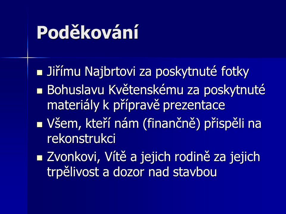 Poděkování  Jiřímu Najbrtovi za poskytnuté fotky  Bohuslavu Květenskému za poskytnuté materiály k přípravě prezentace  Všem, kteří nám (finančně) p