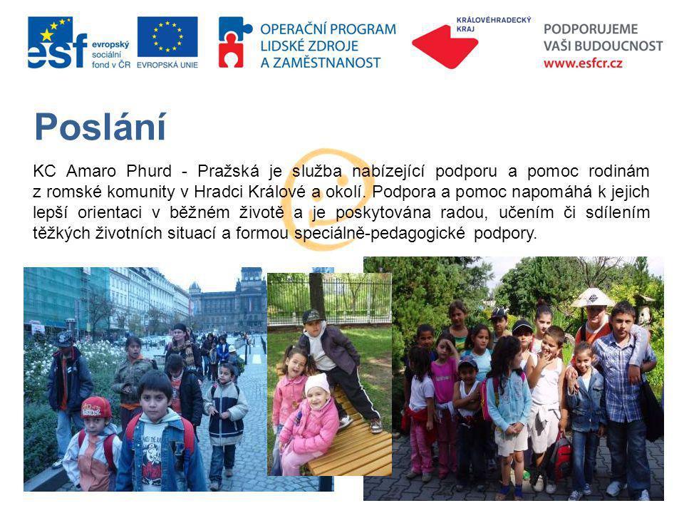 Poslání KC Amaro Phurd - Pražská je služba nabízející podporu a pomoc rodinám z romské komunity v Hradci Králové a okolí.