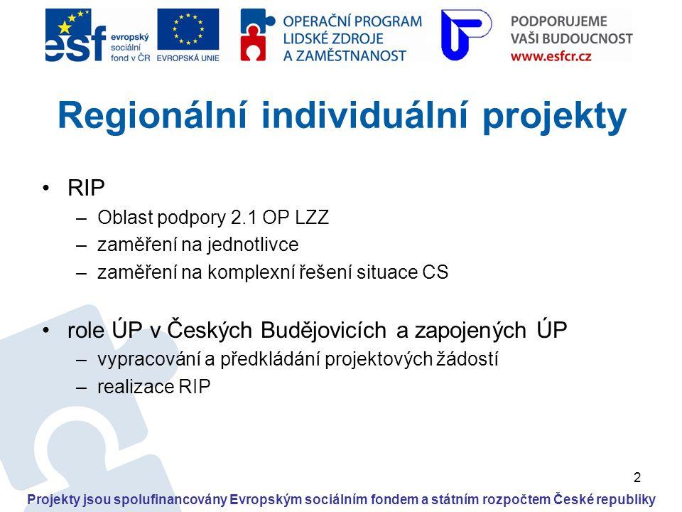 2 •RIP –Oblast podpory 2.1 OP LZZ –zaměření na jednotlivce –zaměření na komplexní řešení situace CS •role ÚP v Českých Budějovicích a zapojených ÚP –v