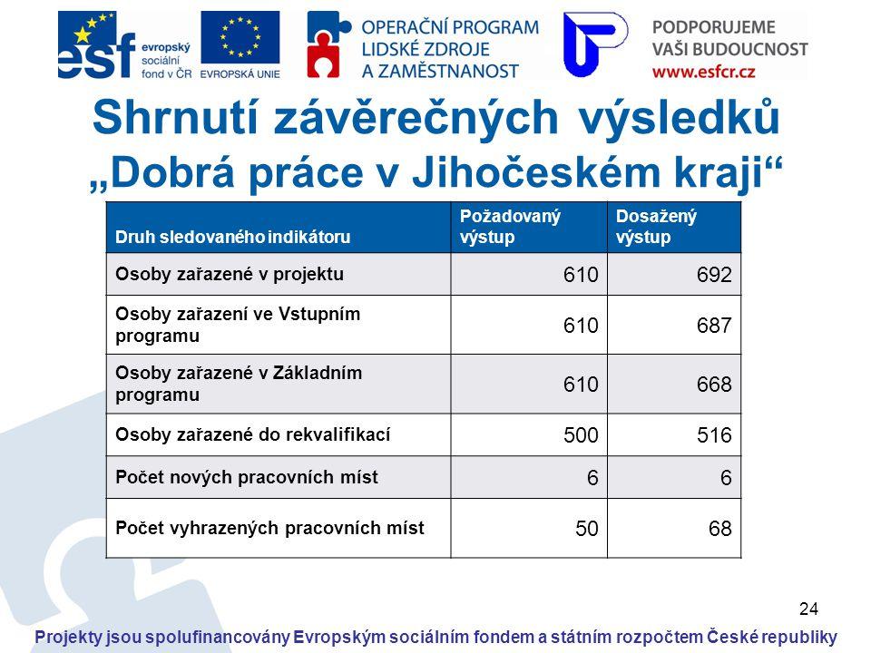 """24 Projekty jsou spolufinancovány Evropským sociálním fondem a státním rozpočtem České republiky Shrnutí závěrečných výsledků """"Dobrá práce v Jihočeské"""