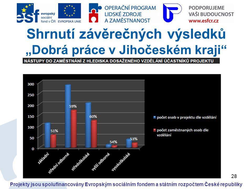 """28 Projekty jsou spolufinancovány Evropským sociálním fondem a státním rozpočtem České republiky Shrnutí závěrečných výsledků """"Dobrá práce v Jihočeské"""