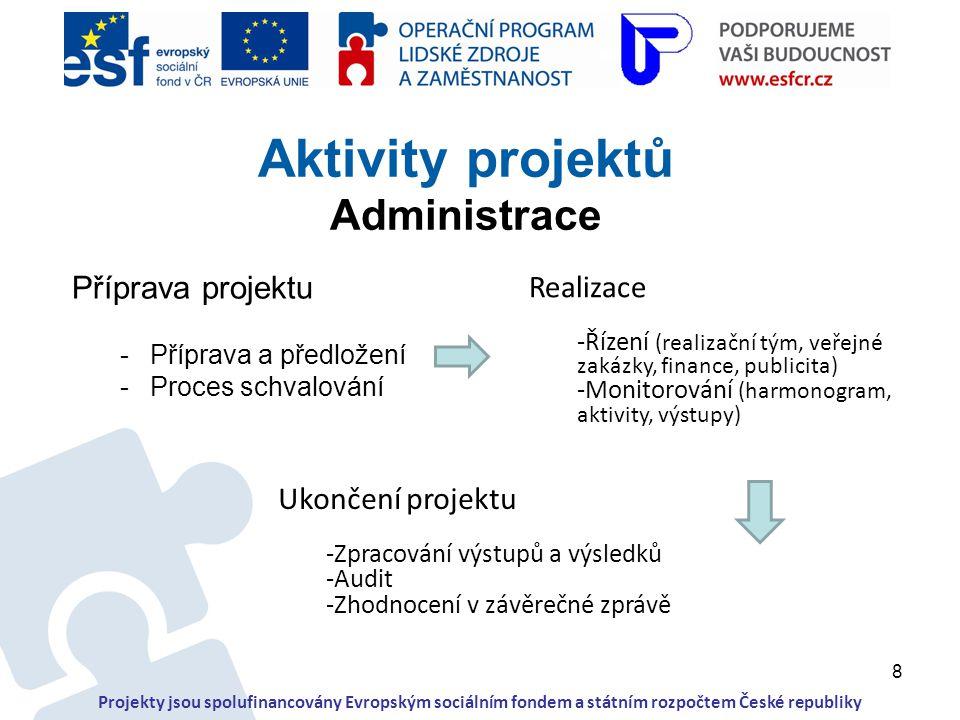 8 Příprava projektu -Příprava a předložení -Proces schvalování Aktivity projektů Administrace Projekty jsou spolufinancovány Evropským sociálním fonde