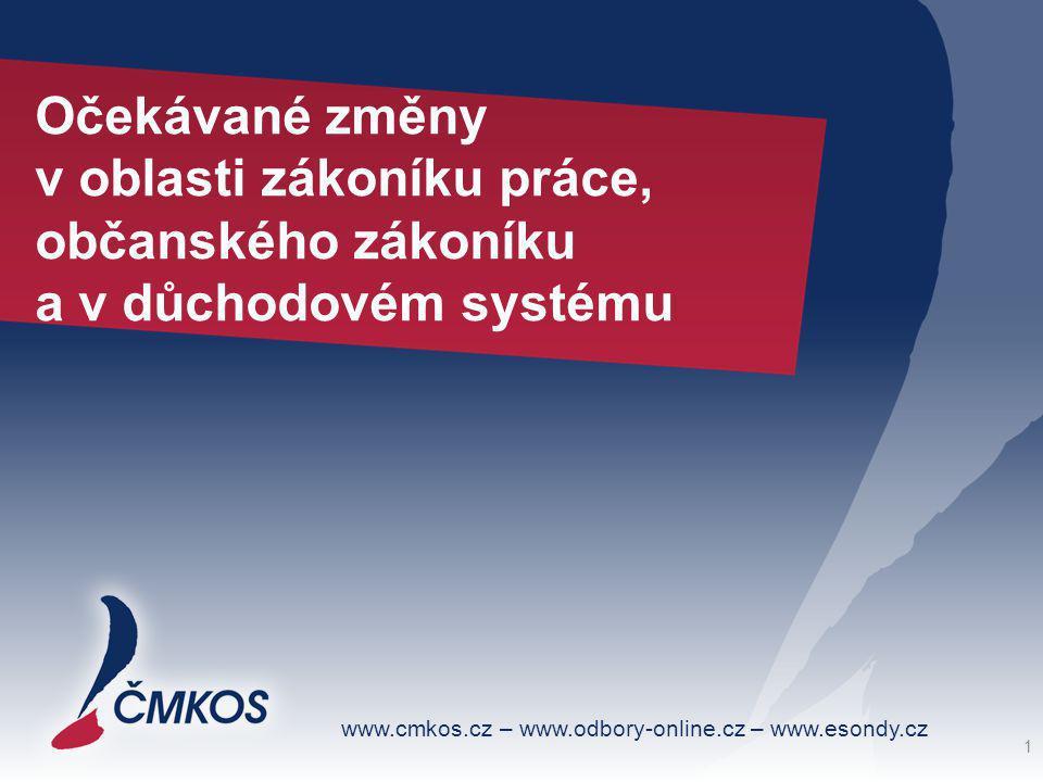 www.cmkos.cz – www.odbory-online.cz – www.esondy.cz Očekávané změny v oblasti zákoníku práce, občanského zákoníku a v důchodovém systému 1