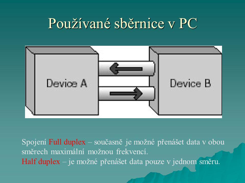 Používané sběrnice v PC Spojení Full duplex – současně je možné přenášet data v obou směrech maximální možnou frekvencí.