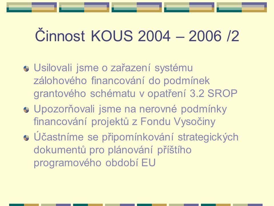 Činnost KOUS 2004 – 2006 /2 Usilovali jsme o zařazení systému zálohového financování do podmínek grantového schématu v opatření 3.2 SROP Upozorňovali