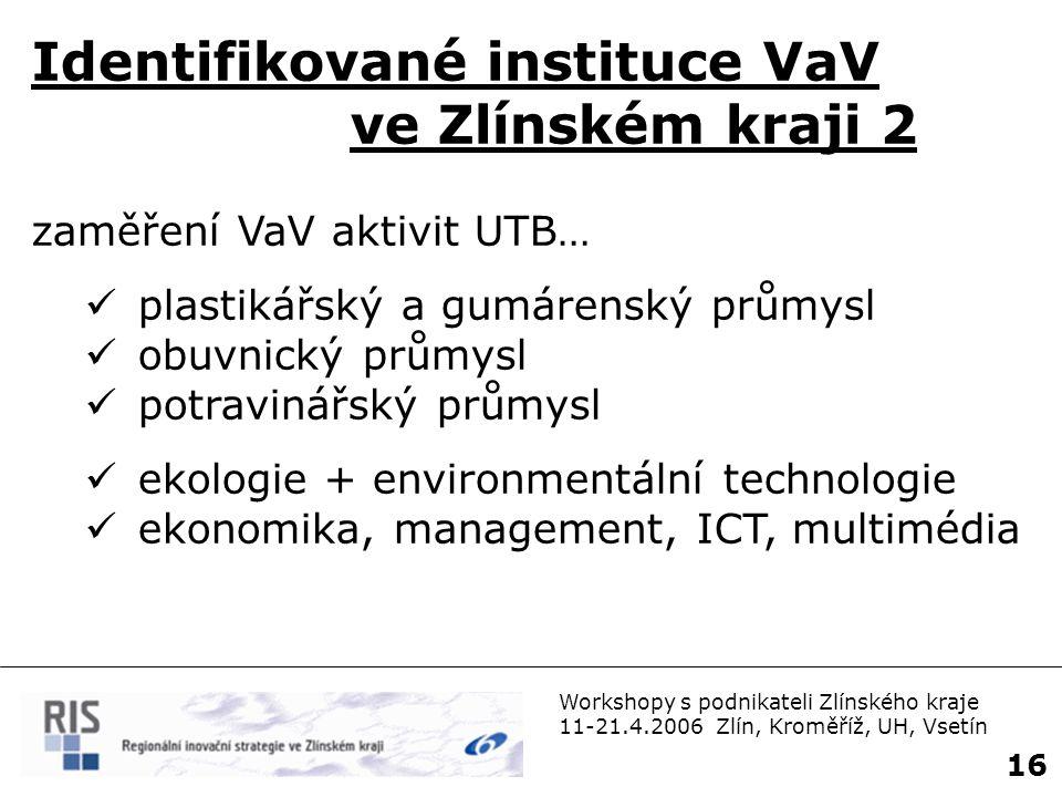 Workshopy s podnikateli Zlínského kraje 11-21.4.2006 Zlín, Kroměříž, UH, Vsetín 17 Nejvýznamnější průmysl.