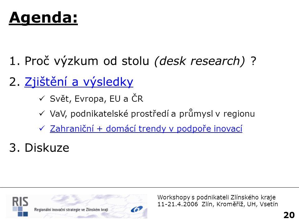 Workshopy s podnikateli Zlínského kraje 11-21.4.2006 Zlín, Kroměříž, UH, Vsetín 21 Trendy v oblasti inovací (OECD)  zlepšení propojení průmyslu a výzkumu  spolupráce mezi stát.