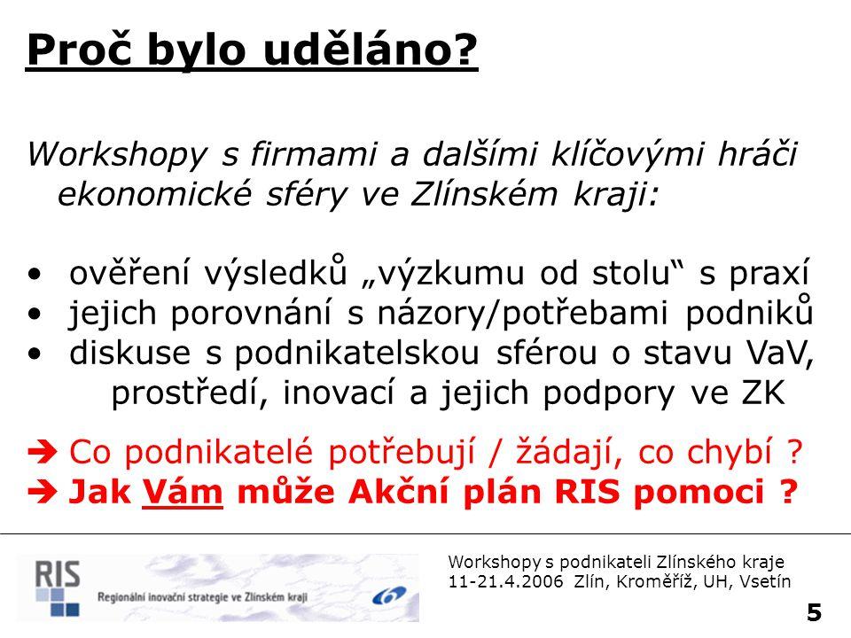 Workshopy s podnikateli Zlínského kraje 11-21.4.2006 Zlín, Kroměříž, UH, Vsetín 6 Co dál.