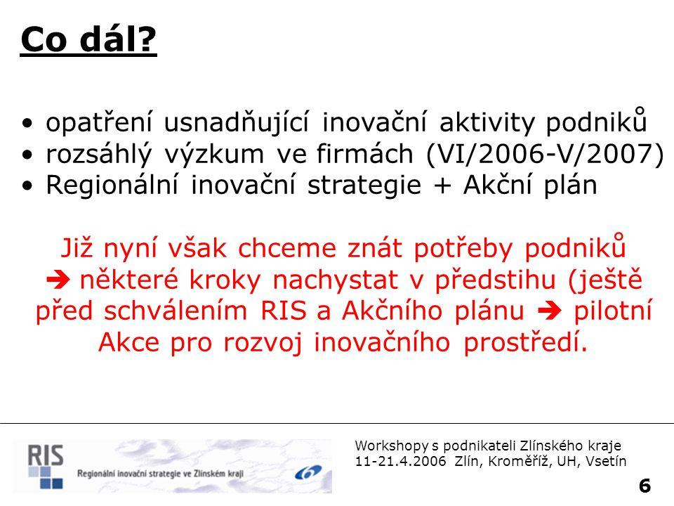 7 Workshopy s podnikateli Zlínského kraje 11-21.4.2006 Zlín, Kroměříž, UH, Vsetín Agenda: 1.