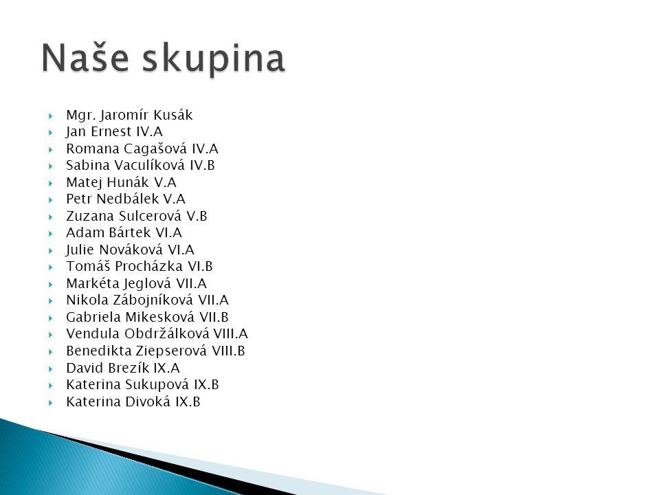  Mgr. Jaromír Kusák  Jan Ernest IV.A  Romana Cagašová IV.A  Sabina Vaculíková IV.B  Matej Hunák V.A  Petr Nedbálek V.A  Zuzana Sulcerová V.B 