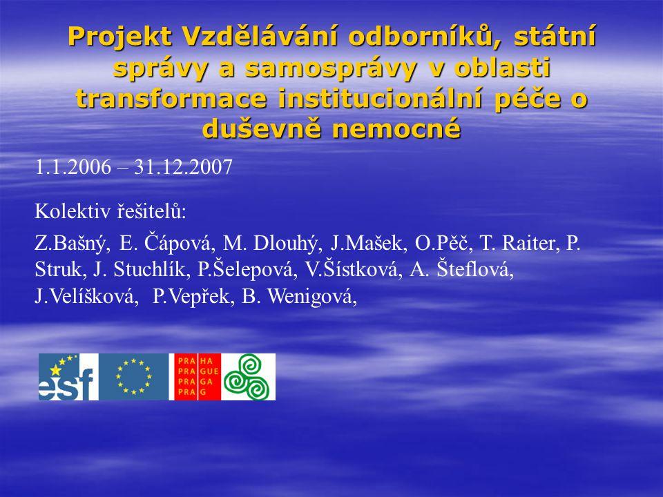 Cíl: Cíl:  definování optimální sítě psychiatrických služeb na území hl.m.Prahy a jejich vzájemné návaznosti.