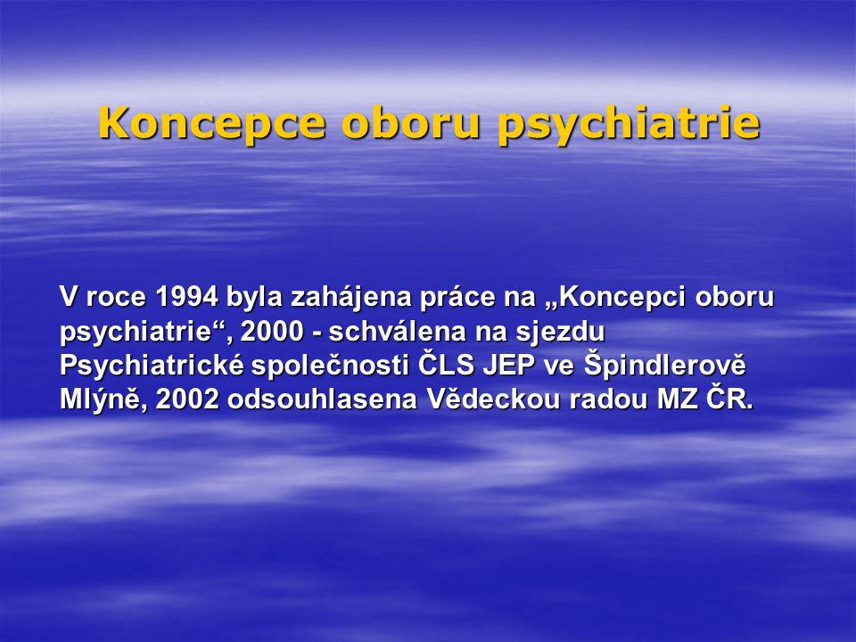 Situační analýza Světová zdravotnická organizace, Světová banka - hodnocení zdravotní zátěže (DALY – Disability Adjusted Life Years) neuropsychiatrické poruchy 22,0 % kardiovaskulární choroby 20,4 % onkologická onemocnění 13,7 % 5% obyvatelstva je aktuálně léčeno pro duševní poruchu Za 10 let nárůst počtu ambulantně ošetřených pacientů pro duševní poruchu o cca 30% poruchy nálady nárůst o 109 % neurotické poruchy 53 % sy demence 64 %
