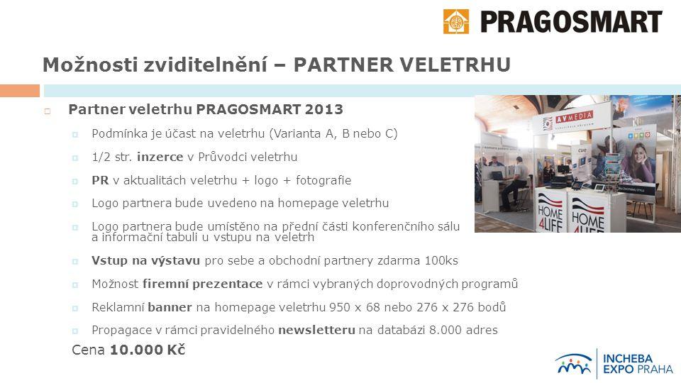 Možnosti zviditelnění – PARTNER VELETRHU  Partner veletrhu PRAGOSMART 2013  Podmínka je účast na veletrhu (Varianta A, B nebo C)  1/2 str.