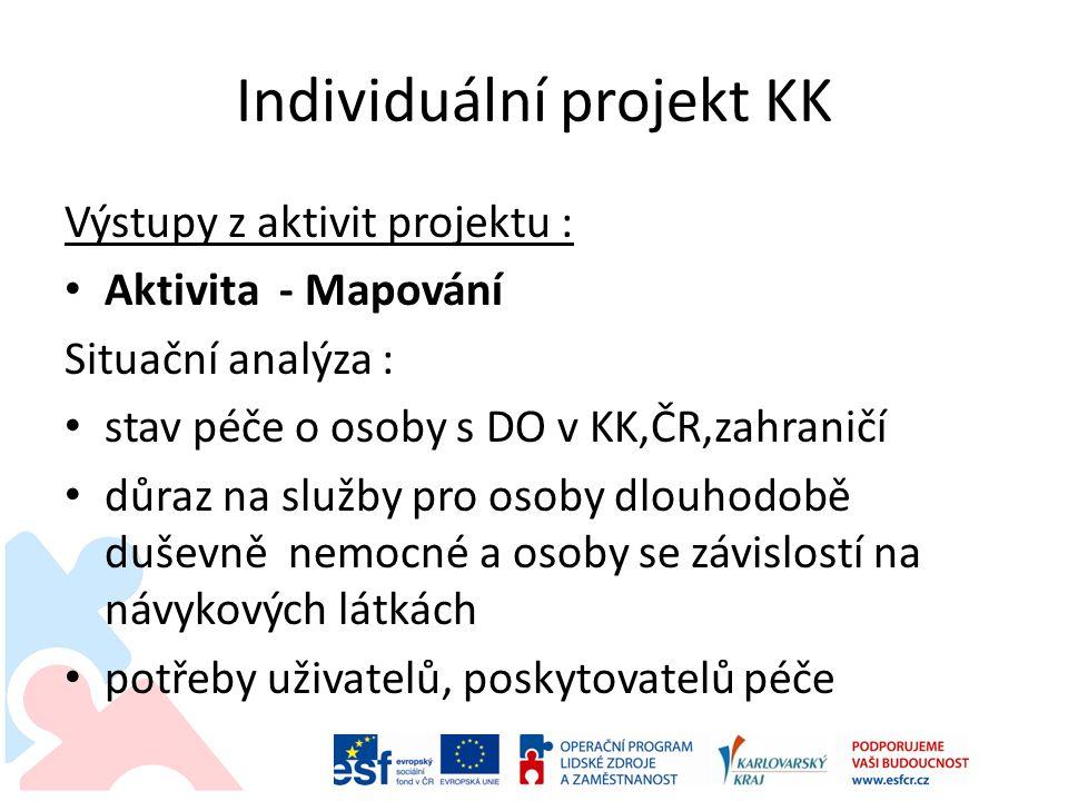 Individuální projekt KK Výstupy z aktivit projektu : • Aktivita - Mapování Situační analýza : • stav péče o osoby s DO v KK,ČR,zahraničí • důraz na sl