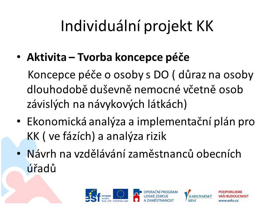 Individuální projekt KK • Aktivita – Tvorba koncepce péče Koncepce péče o osoby s DO ( důraz na osoby dlouhodobě duševně nemocné včetně osob závislých