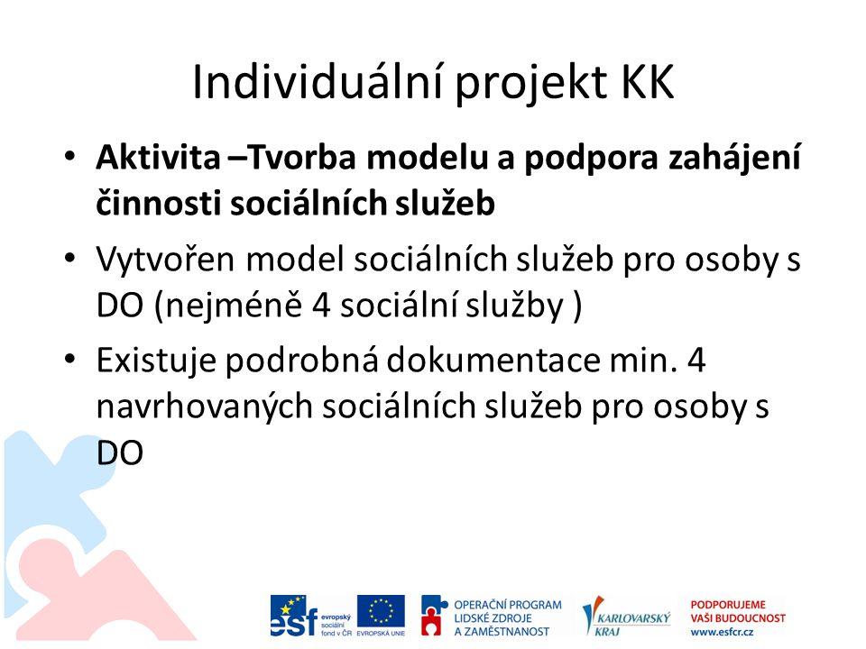 Individuální projekt KK • Aktivita –Tvorba modelu a podpora zahájení činnosti sociálních služeb • Vytvořen model sociálních služeb pro osoby s DO (nej