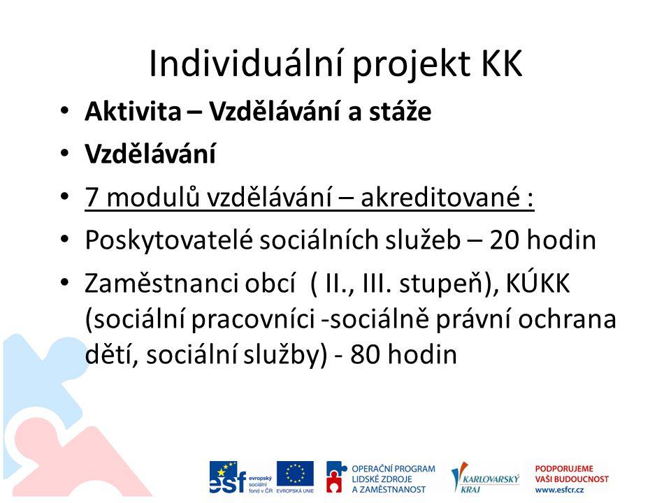 Individuální projekt KK • Aktivita – Vzdělávání a stáže • Vzdělávání • 7 modulů vzdělávání – akreditované : • Poskytovatelé sociálních služeb – 20 hod