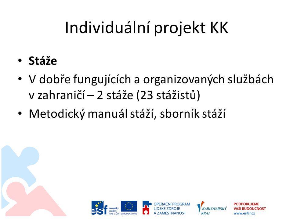 Individuální projekt KK • Stáže • V dobře fungujících a organizovaných službách v zahraničí – 2 stáže (23 stážistů) • Metodický manuál stáží, sborník