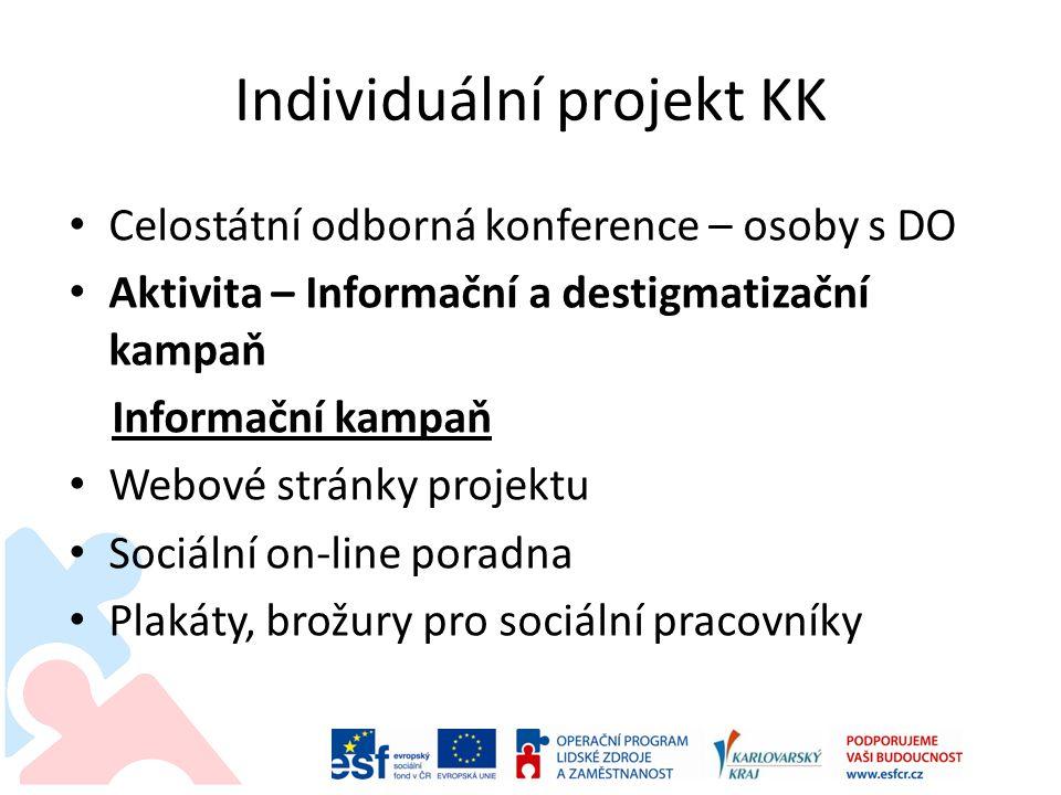 Individuální projekt KK • Celostátní odborná konference – osoby s DO • Aktivita – Informační a destigmatizační kampaň Informační kampaň • Webové strán