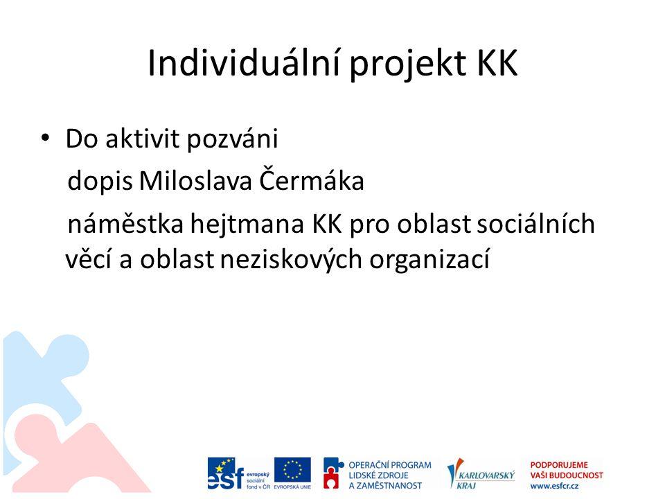 Individuální projekt KK • Do aktivit pozváni dopis Miloslava Čermáka náměstka hejtmana KK pro oblast sociálních věcí a oblast neziskových organizací