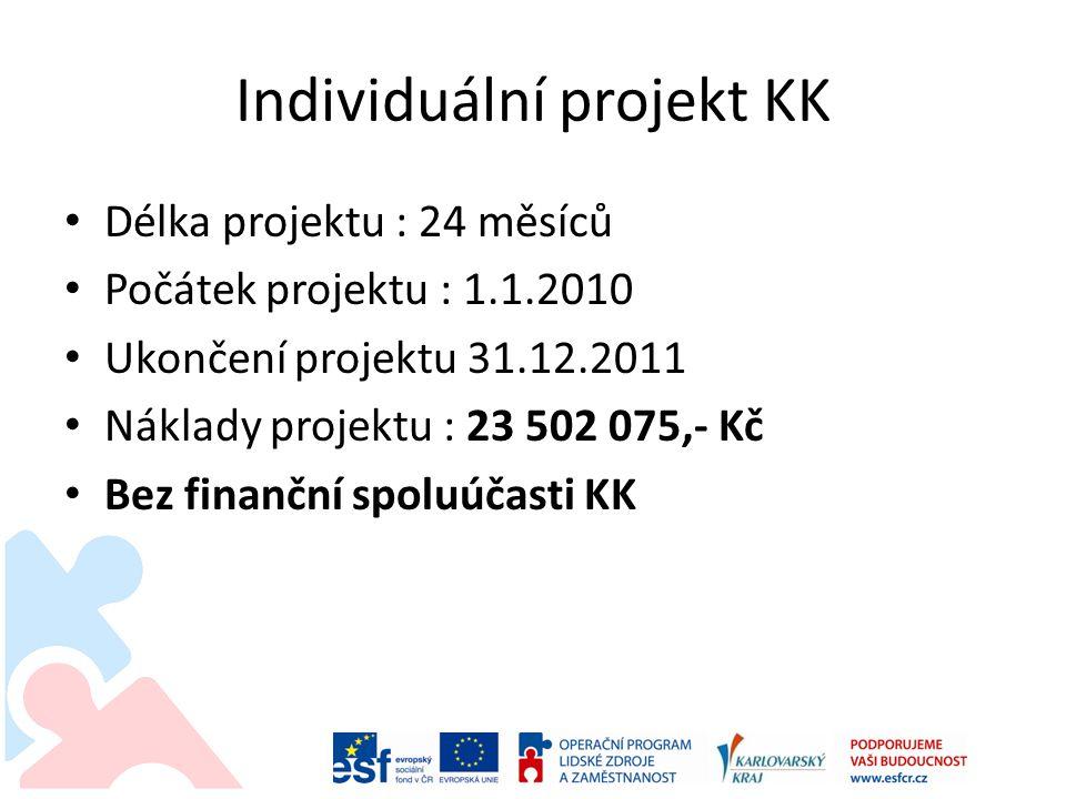 Individuální projekt KK Zajištění činností v projektu : • Odbor sociálních věcí KÚKK – odborný garant projektu • Agentura projektového a dotačního managementu Karlovarského kraje, příspěvková organizace – řízení a administrace projektu