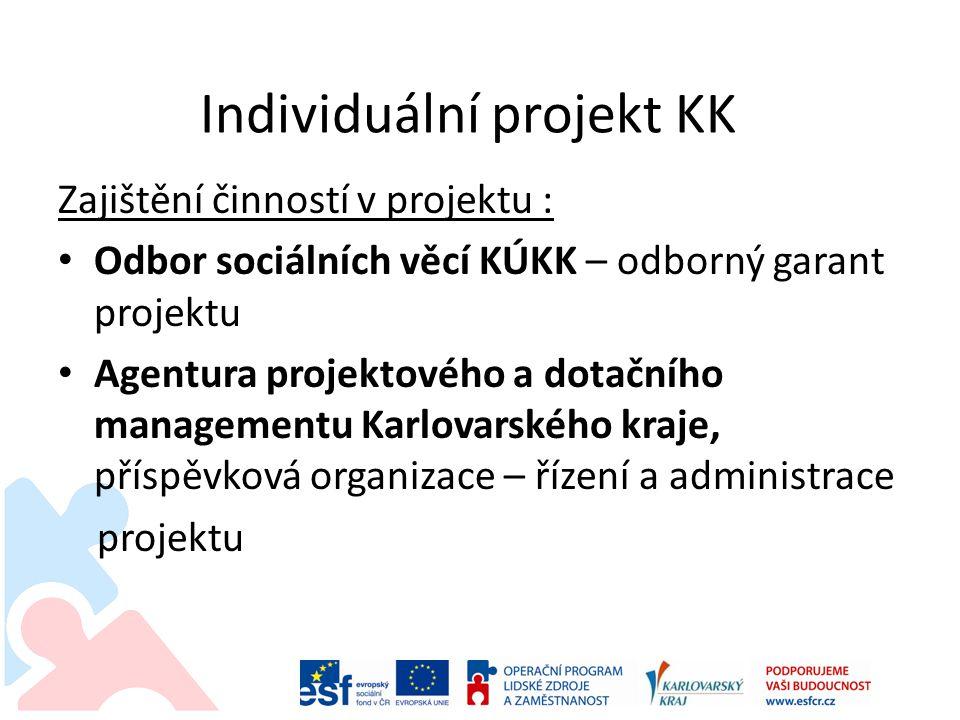 Individuální projekt KK Zajištění činností v projektu : • Odbor sociálních věcí KÚKK – odborný garant projektu • Agentura projektového a dotačního man