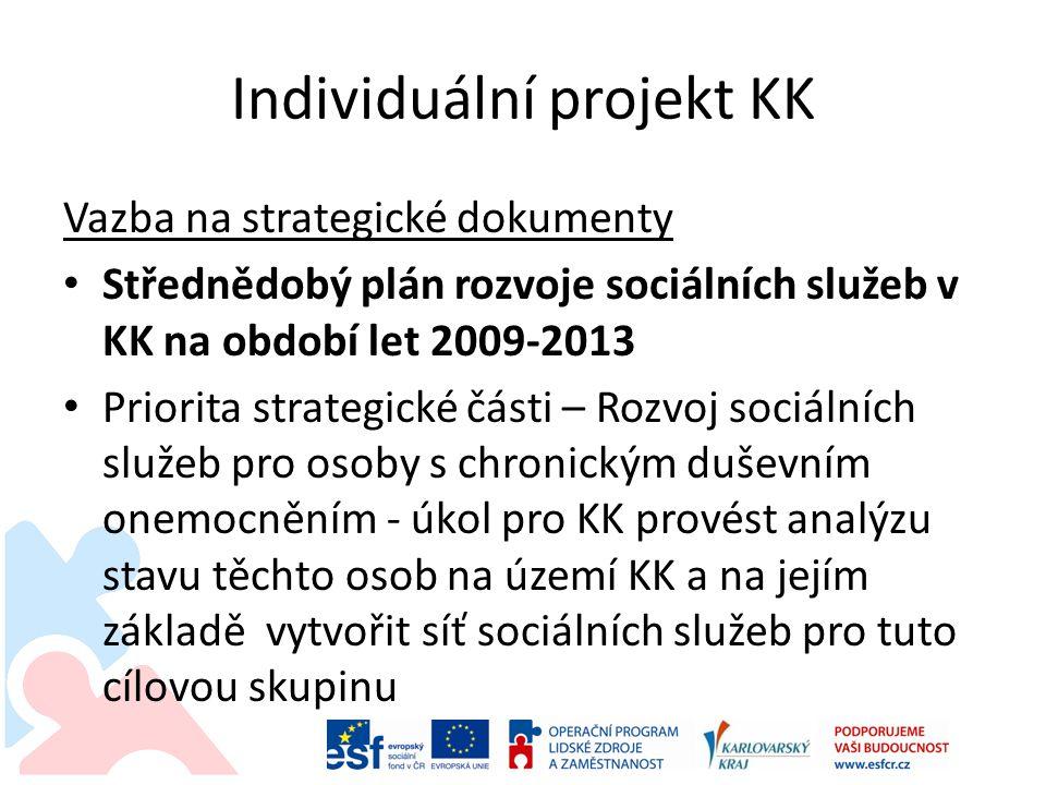 Individuální projekt KK Vazba na strategické dokumenty • Střednědobý plán rozvoje sociálních služeb v KK na období let 2009-2013 • Priorita strategick