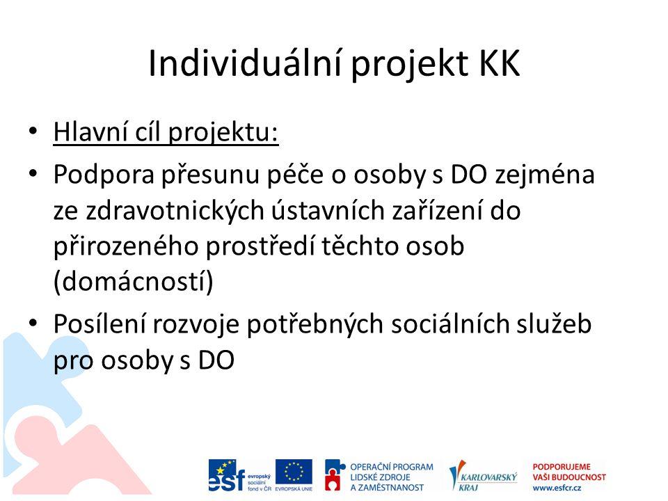 Individuální projekt KK • Hlavní cíl projektu: • Podpora přesunu péče o osoby s DO zejména ze zdravotnických ústavních zařízení do přirozeného prostře