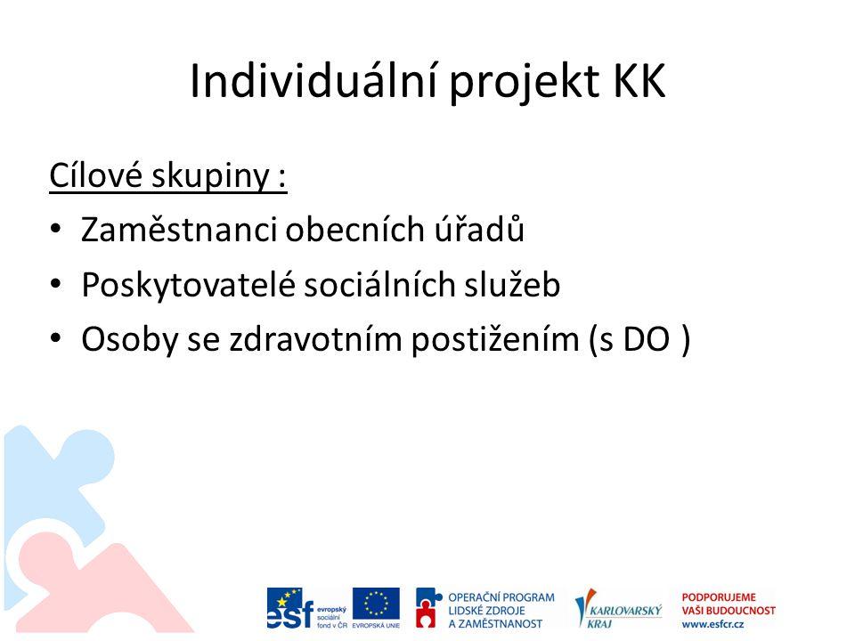 Individuální projekt KK • Hlavní aktivity projektu (7) : • Řízení projektu • Mapování • Tvorba koncepce péče • Tvorba modelu a podpora zahájení činnosti sociálních služeb • Vzdělávání a stáže • Informační a destigmatizační kampaň • Komunitní plánování-podpůrné pracovní skupiny