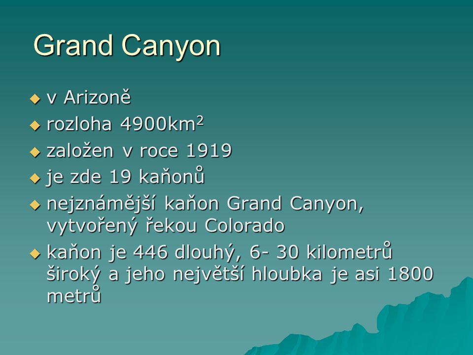 Grand Canyon  v Arizoně  rozloha 4900km 2  založen v roce 1919  je zde 19 kaňonů  nejznámější kaňon Grand Canyon, vytvořený řekou Colorado  kaňo