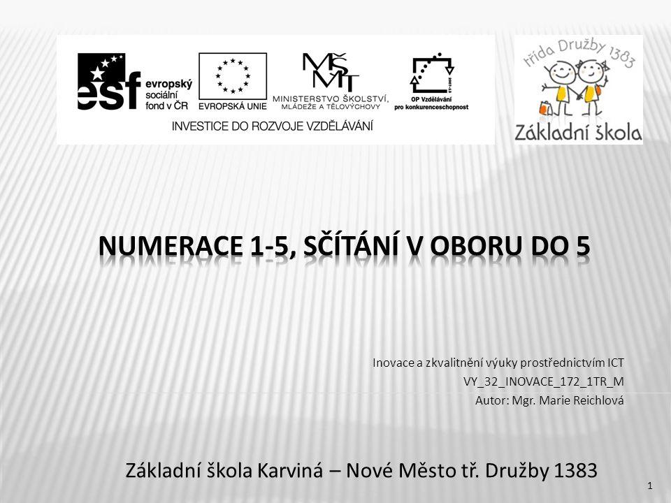 Inovace a zkvalitnění výuky prostřednictvím ICT VY_32_INOVACE_172_1TR_M Autor: Mgr.