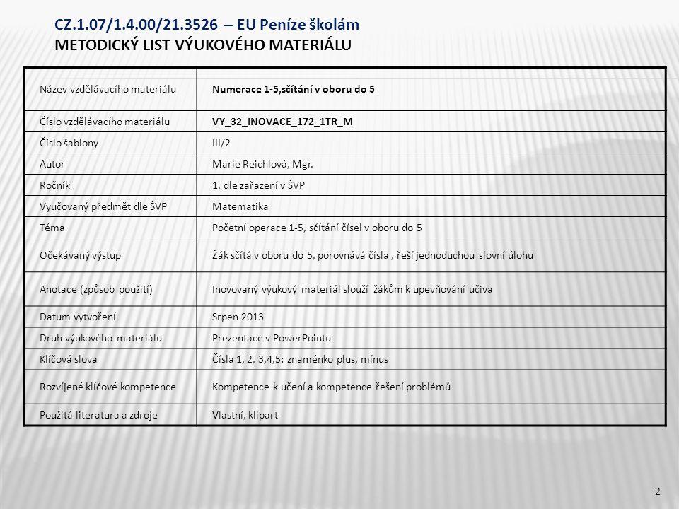 CZ.1.07/1.4.00/21.3526 – EU Peníze školám METODICKÝ LIST VÝUKOVÉHO MATERIÁLU Název vzdělávacího materiáluNumerace 1-5,sčítání v oboru do 5 Číslo vzdělávacího materiáluVY_32_INOVACE_172_1TR_M Číslo šablonyIII/2 AutorMarie Reichlová, Mgr.