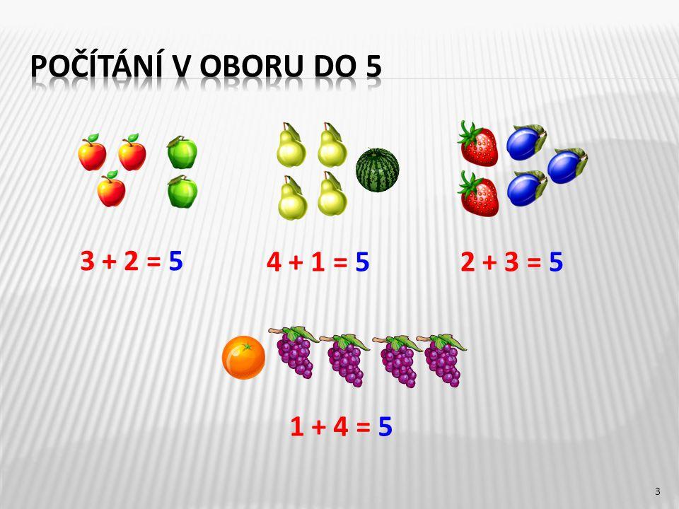 3 + 2 = 5 1 + 4 = 5 2 + 3 = 54 + 1 = 5 3