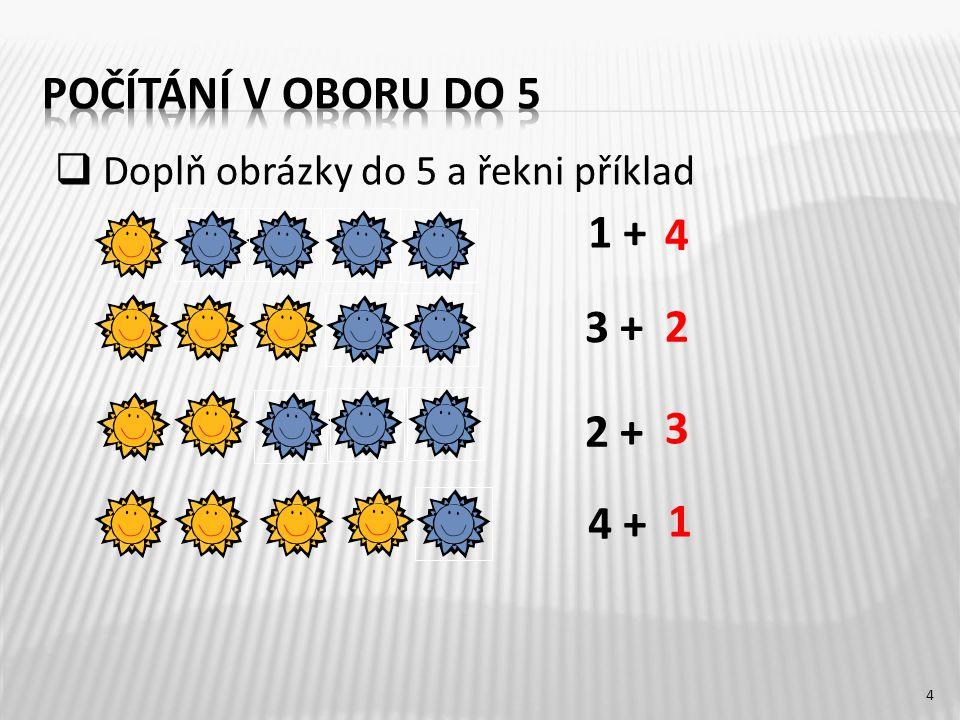 1 + 3 + 2 + 4 + 4 2 3 1 4  Doplň obrázky do 5 a řekni příklad
