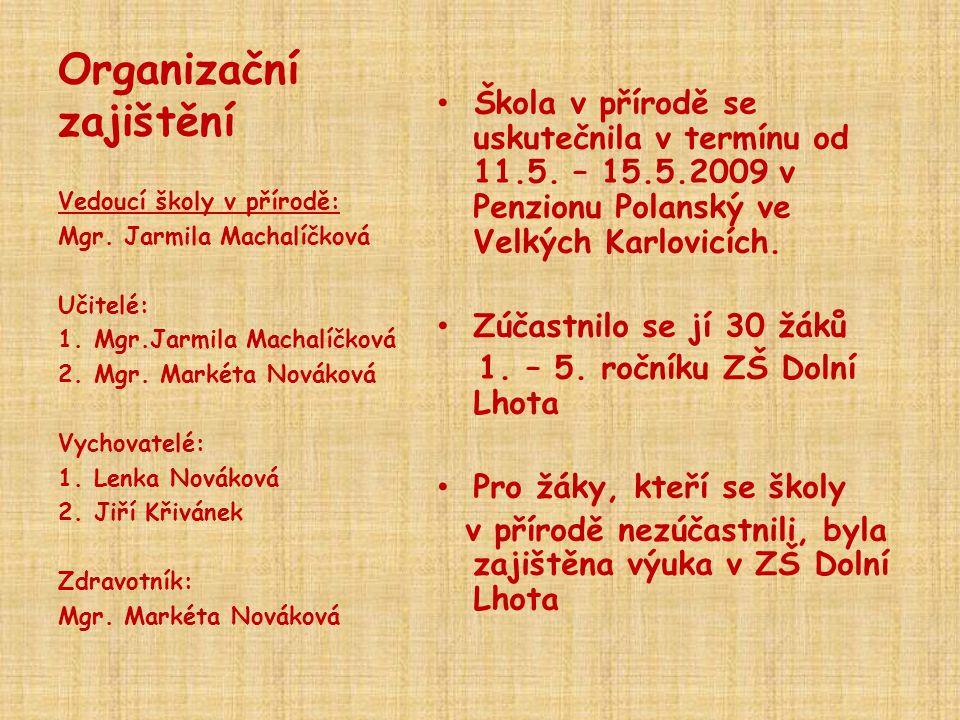 Organizační zajištění • Škola v přírodě se uskutečnila v termínu od 11.5. – 15.5.2009 v Penzionu Polanský ve Velkých Karlovicích. • Zúčastnilo se jí 3