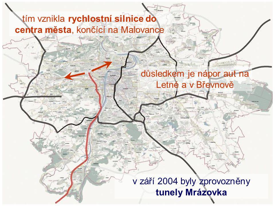 tím vznikla rychlostní silnice do centra města, končící na Malovance důsledkem je nápor aut na Letné a v Břevnově